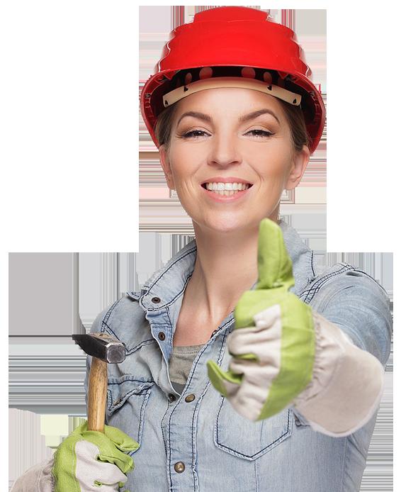 ouvriere avec un pouce en avant